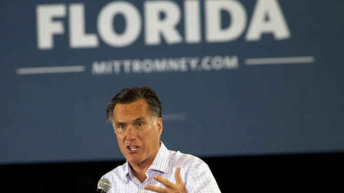Republican presidential candidate and former Massachusetts Gov. Mitt Romney speaks to supporters in Miami, Wednesday, Sept. 19, 2012. (AP Photo/J Pat Carter)