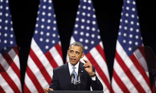 In this Jan. 29, 2013, file photo, President Barack Obama speaks about immigration reform Tuesday, Jan. 29, 2013, at Del Sol High School in Las Vegas. The immigration debate is threatening to split the Republican Party, pitting those who focus mainly on presidential elections against those who care mostly about congressional races. Granting illegal residents a path to citizenship, which critics call &quot;amnesty,&quot; is deeply unpopular in many House Republicans&#39; districts. However, Obama wants such a pathway. (AP Photo/Isaac Brekken, File)