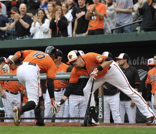 Baltimore Orioles' Adam Jones, left, is congratulated by teammate Matt Wieters after hitting a two-run home run against the Tampa Bay Rays in the first inning of a baseball game on Saturday, May 18, 2