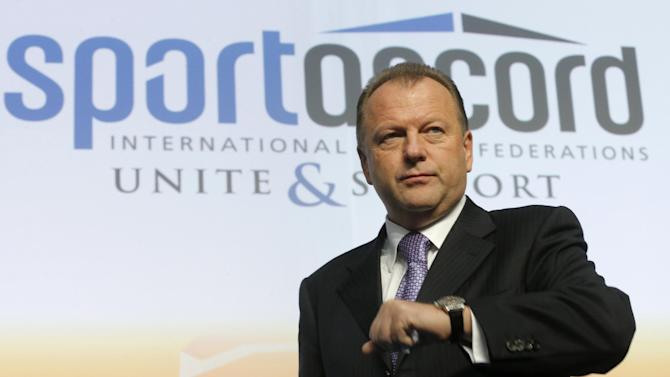 FILE - In this Friday, May 31, 2013 file photo, Marius Vizer, president of the International Judo Federation, (IJF) attends the SportAccord International Convention in St. Petersburg, Russia. A month after launching a scathing attack on the IOC, the head of SportAccord, Marius Vizer, says Tuesday May 19, 2015, he has proposed a meeting with Thomas Bach to repair the damage that has led multiple sports to cut ties with the umbrella body for international federations. (AP Photo/Dmitry Lovetsky, File)