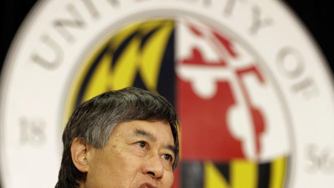 University of Maryland President Wallace Loh speaks at a news conference to announce Maryland's decision to move to the Big Ten NCAA athletic conference in College Park, Md., Monday, Nov. 19, 2012. Maryland is joining the Big Ten, leaving the Atlantic Coast Conference in a shocker of a move in the world of conference realignment. (AP Photo/Patrick Semansky)