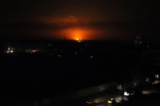 A picture released by the official Syrian Arab News Agency (SANA) on October 23, 2013 allegedly shows a burning gas pipeline near Damascus airport, where a key power plant to the Syrian capital is located