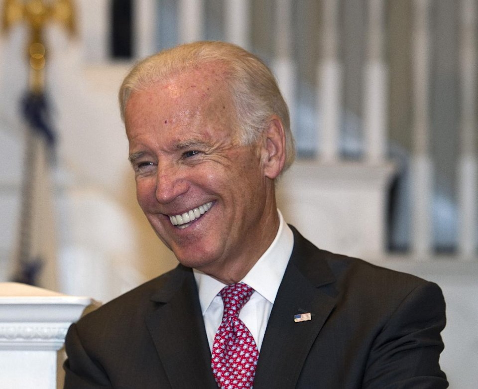 FILE - In this Sept. 12, 2013 file photo, Vice President Joe Biden smiles while hosting a reception at the Naval Observatory in Washington. Biden is set to deliver the keynote address at the Human Rights Campaign's annual dinner next month. Biden will be speaking to an influential group of gay and lesbian activists who were among President Barack Obama's most loyal supporters during the 2012 campaign. (AP Photo/Cliff Owen, File)