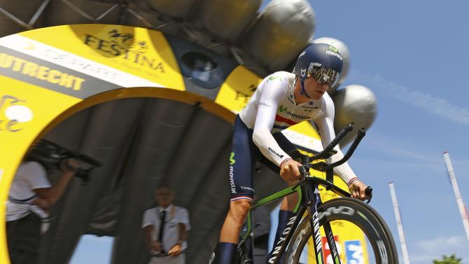 Movistar rider Alex Dowsett of Britain cycles during the individual time-trial first stage of the 102nd Tour de France cycling race in Utrecht