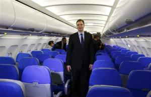 Serbia's Deputy PM Vucic walks inside a new Airbus …