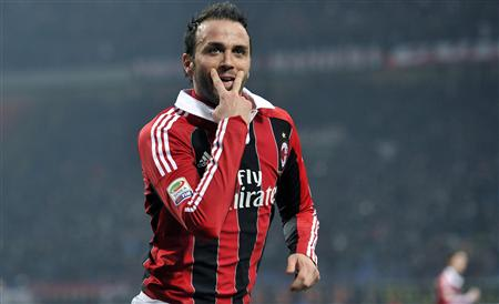 AC Milan's Pazzini celebrates after scoring against Lazio in their Serie A soccer match in Milan