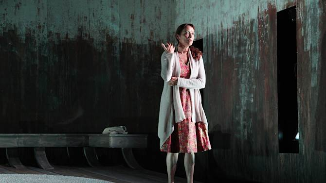 """This theater image released by Richard Kornberg & Associates shows Karen Allen in a scene from Jon Fosse's drama, """"A Summer Day,"""" presented by Rattlestick Playwrights Theater off-Broadway at the Cherry Lane Theatre in New York.  (AP Photo/Richard Kornberg & Associates, Sandra Coudert)"""