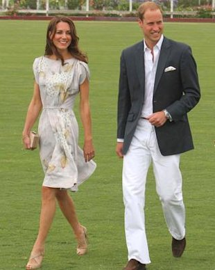 Kate Middleton, with Prince William at a Santa Barbara polo match in Jenny Packham