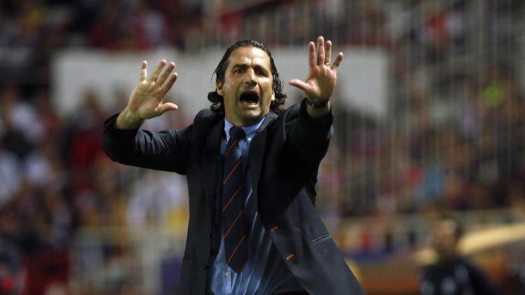 Valencia's coach Pizzi gestures during their Europa League semi-final first leg soccer match against Sevilla in Seville