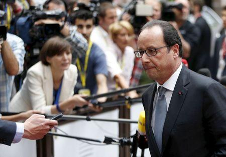 France's President Hollande arrives at an emergency euro zone summit in Brussels