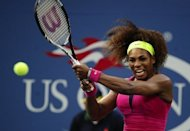 US Serena Williams plays a point against Italys' Sara Errani during the 2012 US Open women's singles semifinals match at the USTA Billie Jean King National Tennis Center in New York. Williams won with a 6-1, 6-2 victory over Errani