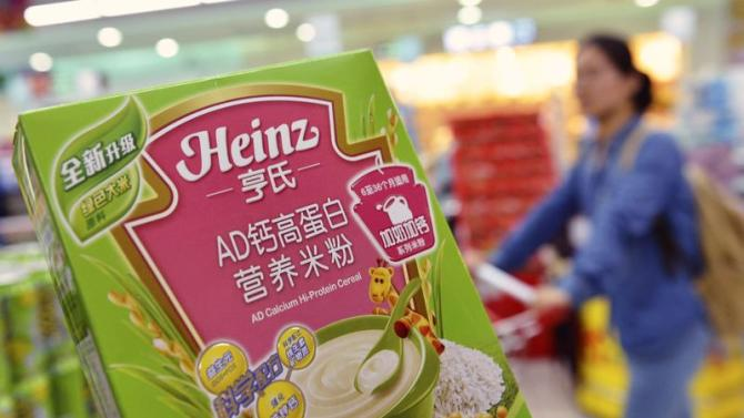 A box of Heinz AD Calcium Hi-Protein Cereal, which is part of a batch of the cereal not affected by a recent recall, is pictured at a supermarket in Hangzhou