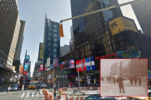 Cornerspotter: Cornerspotted: A Snow-Covered Times Square at 43rd Street