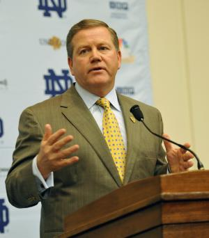 Notre Dame football coach Brian Kelly addresses the media during a news conference in Tuesday March 22, 2011, in South Bend, Ind. (AP Photo/Joe Raymond)