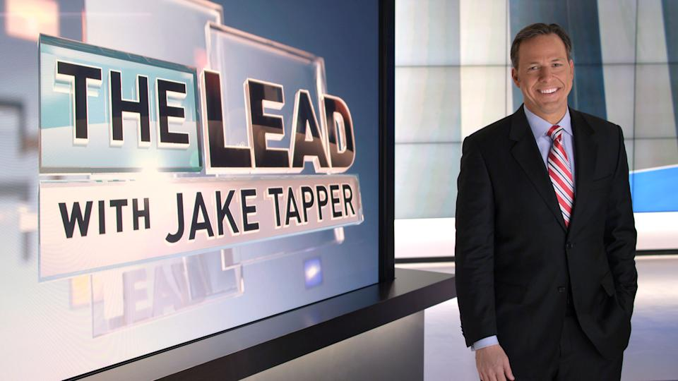 "This undated image from video provided by CNN shows Jake Tapper on the set of his show ""The Lead with Jake Tapper."" Tapper says he wants the show to be a broad look at the news, encompassing business, politics and entertainment. (AP Photo/CNN)"