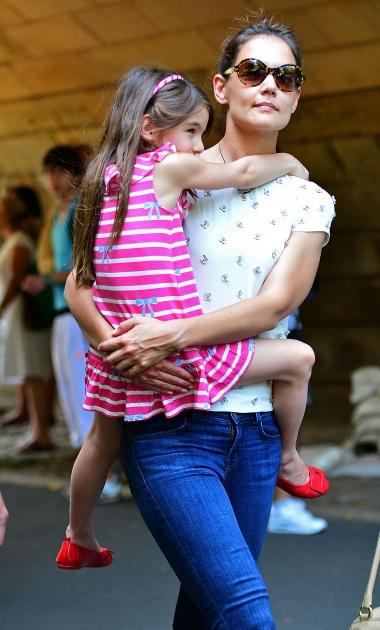 Katie Holmes and Suri Cruise visit Central Park Zoo in New York City on July 11, 2012 -- Getty Premium