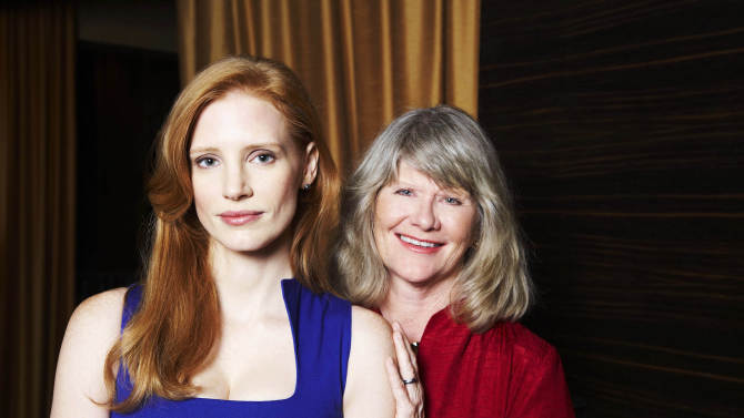 "This Sept. 13, 2012  photo shows Jessica Chastain, left, and Judith Ivey, co-stars of the play ""The Heiress,"" posing for a portrait at the Empire Hotel in New York. ""The Heiress,"" based on the Henry James novel ""Washington Square,"" is the story of a plain woman who is forced to choose between her dismissive father and a charming suitor. (Photo by Dan Hallman/Invision/AP)"