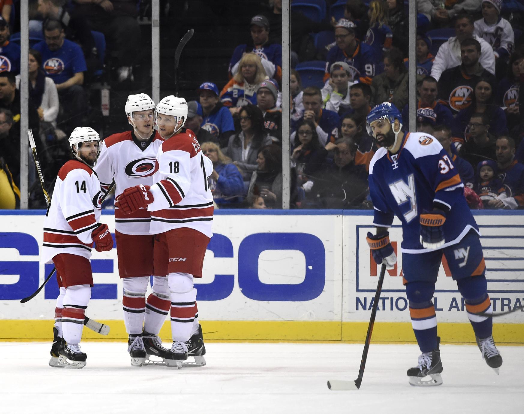 McClement scores 2 in Hurricanes' 5-3 win over Islanders