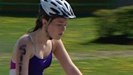 A student cycles in P.E.I.&#39;s first student triathlon in Summerside.