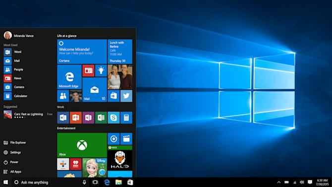 This screen shot provided by Microsoft shows the Start page in Windows 10. With Windows 10, the start button functions the way it did with Windows 7 and earlier. The graphical start page from Windows 8 is embedded in that start button, so that it feels modern without chucking old habits. (Microsoft via AP)