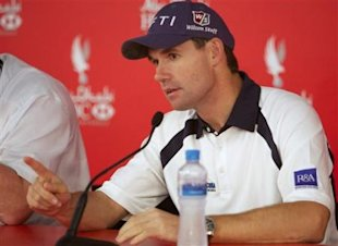 Ireland's Padraig Harrington attends a press conference after he was disqualified from the tournament during the second round of the Abu Dhabi Golf Ch