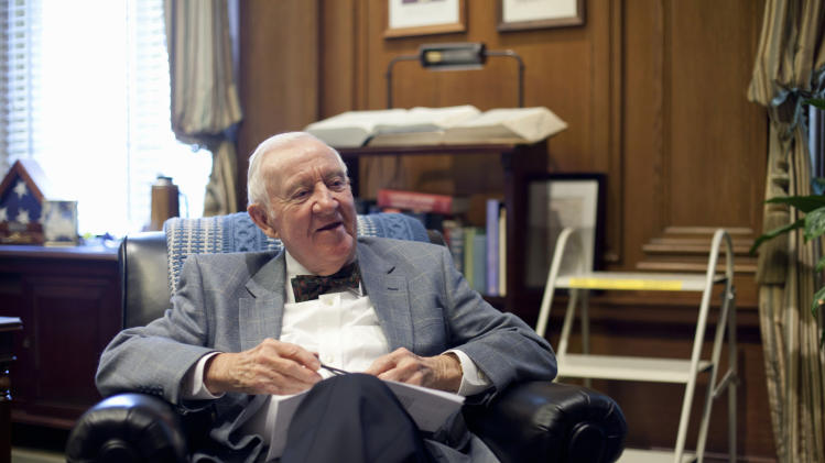 "Retired Supreme Court Justice John Paul Stevens, 91, works in his office at the Supreme Court in Washington, Wednesday, Sept. 28, 2011. His new book is titled ""Five Chiefs: A Supreme Court Memoir,"" a personal reflection on the five chief justices he has known.  (AP Photo/J. Scott Applewhite)"