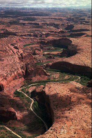FILE - In a Sept. 19, 1996 file photo, the serpentine Escalante River carves its way through sandstone landscape on its way to Lake Powell about 40 miles away to the south. William Martin LaFever, 28, who is alutistic, lived on a few frogs he caught and roots as he wandered for at least three weeks in the remote Escalante Desert of southern Utah until being rescued on Thursday, July 12, 2012. LaFever, of Colorado Springs, Colo., told rescuers he drank water from the Escalante River while attempting to walk from Boulder, Utah, to Page, Ariz., a distance of approximately 90 miles or more by the route he appeared to be taking. (AP Photo/Salt Lake Tribune, Al Hartmann, File)   DESERET NEWS OUT; LOCAL TV OUT; MAGS OUT