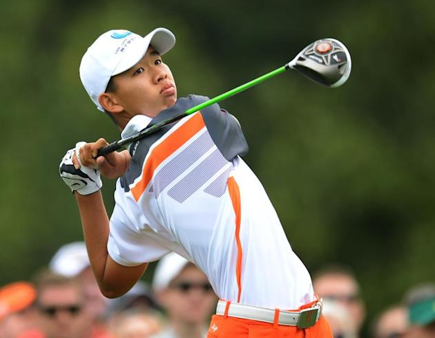 Guan Tianlang of China hits a drive during the fourth round of the 77th Masters golf tournament at Augusta National Golf Club in Georgia on April 14, 2013