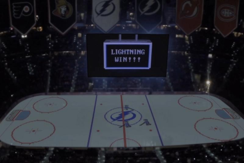 Watch an NHL arena transform into an 8-bit video game