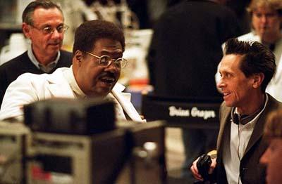 Eddie Murphy and producer Brian Grazer on the set of Universal's Nutty Professor II: The Klumps