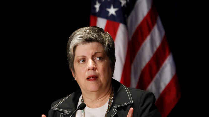 FILE - In an April 3, 2012 file photo Department of Homeland Security Secretary Janet Napolitano addresses the annual National Fusion Center Training Event Wednesday, April 4, 2012 in Phoenix. Homeland Security Secretary Janet Napolitano is expected to face tough questions Wednesday from the Senate Judiciary Committee on the Secret Service prostitution scandal. (AP Photo/Matt York, File)