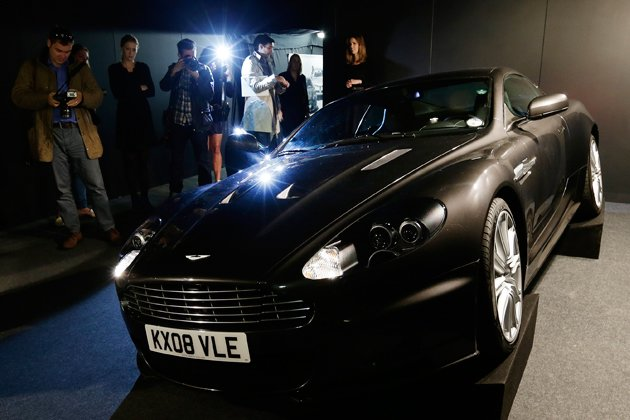 The 2008 Aston Martin 6 litre V12 DBS 2 door coupe used by Daniel Craig as James Bond in the movie 'Quantum of Solace' is shown to the media during a press preview at the James Bond movie memo