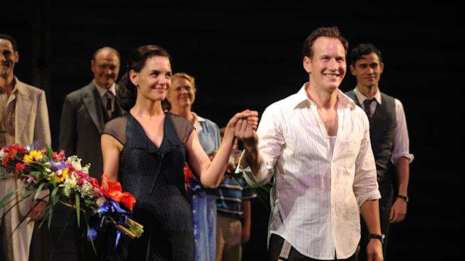 """FILE - This Oct. 16, 2008 file photo shows actors Katie Holmes, left, and Patrick Wilson at the opening night of the Broadway play """"All My Sons"""" in New York. At just 33, Holmes is emerging from the public hysteria of her relationship with Cruise with open roads ahead, and, possibly, renewed ambition. (AP Photo/Peter Kramer, file)"""