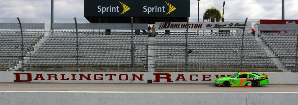 NASCAR driver Danica Patrick practices at Darlington Raceway for the Nationwide Series auto race, Friday, May 11, 2012 in Darlington, S.C. (AP Photo/Mary Ann Chastain)