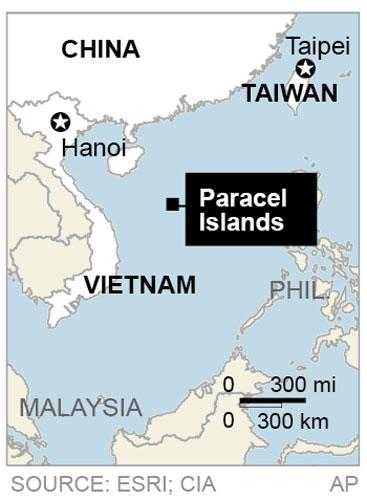 Map locates the Paracel Islands where there is a territorial dispute between Vietnam, Taiwan and China;