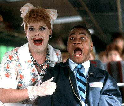 Cuba Gooding Jr. as Owen Templeton getting serious heebie-jeebies with a guy dressed as Lucille Ball in Paramount's Rat Race