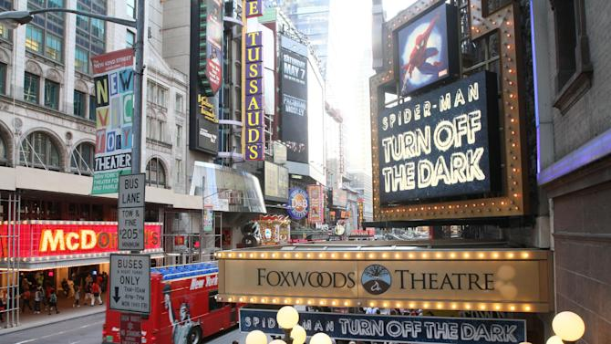 """FILE - This May 12, 2011 file photo shows the marquee for """"Spider-Man: Turn Off The Dark"""" outside the Foxwoods Theatre in New York. Ambassador Theatre Group said Monday, May 20, 2013, it has acquired The Foxwoods Theatre, the current home of """"Spider-Man: Turn Off the Dark."""" The theater has about 2,000 seats.  (AP Photo/Tina Fineberg, file)"""