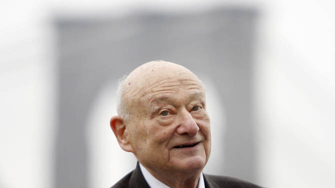 FILE - In this March 23, 2010 file photo, former New York Mayor Ed Koch speaks during a publicity event in New York. A spokesman says Ed Koch, outspoken 3-term mayor who became brash symbol of NYC, died Friday morning Feb. 1, 2013 at age 88.(AP Photo/Seth Wenig, File)