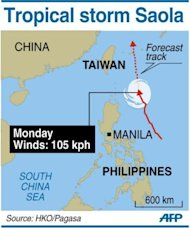 Path of Tropical Storm Saola, which brought heavy rains to large parts of the Philippines and left at least one person dead