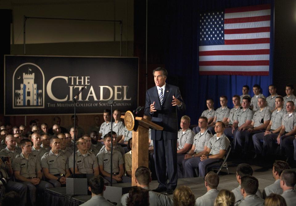 Republican presidential candidate and former Massachusetts Gov. Mitt Romney speaks to Citadel cadets and supporters during a campaign speech inside Mark Clark Hall on The Citadel campus in Charleston, S.C., Friday, Oct. 7, 2011. (AP Photo/Mic Smith)