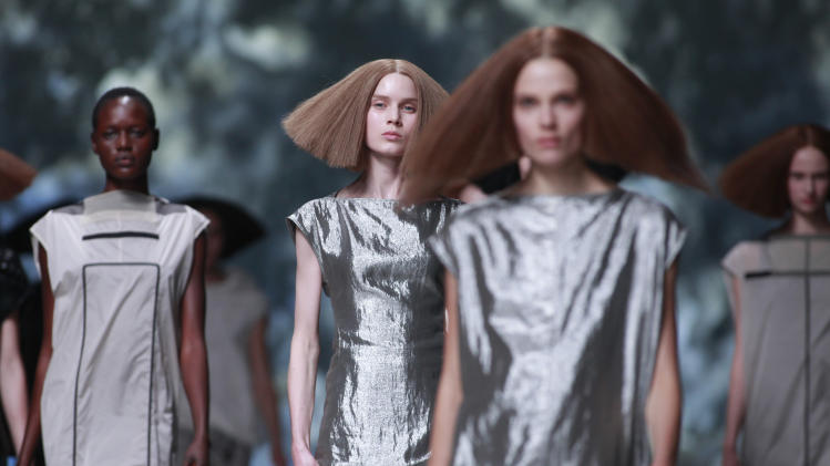 Models wear creations for U.S fashion designer Rick Owens' ready to wear Spring Summer 2013, presented in Paris, Thursday, Sept.27, 2012. (AP Photo/Thibault Camus)