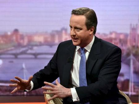 "Britain's Prime Minister David Cameron gestures during an interview on ""The Andrew Marr Show"" in London"