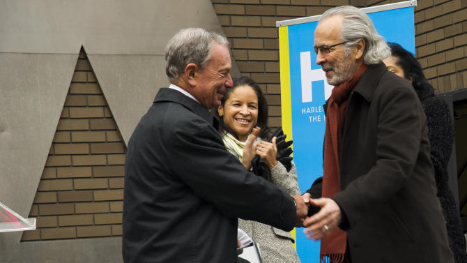 """IMAGE DISTRIBUTED FOR HARLEM SCHOOL OF THE ARTS - From left to right, Mayor Michael R. Bloomberg, Yvette L. Campbell and Herb Albert attend the """"Harlem School of the Arts - The Herb Alpert Center"""" building naming ceremony, on Monday, March 11, 2013 in New York. (Photo by Charles Sykes/Invision for Harlem School of the Arts/AP Images)"""