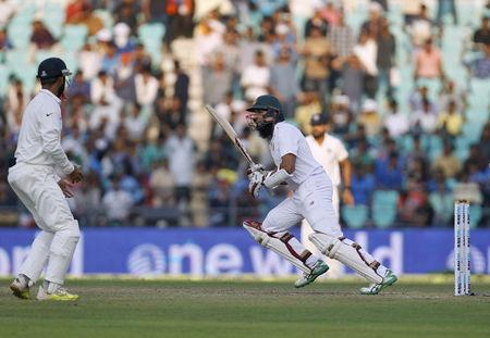 South Africa's captain Amla runs between wickets during the second day of their third test cricket match against India in Nagpur