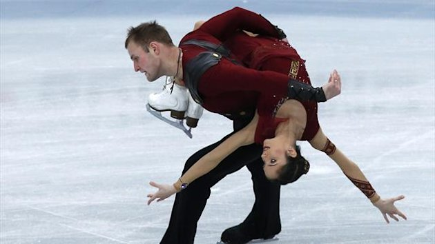 Vera Bazarova and Yuri Larionov of Russia perform during the pairs free skating at ISU Grand Prix of Figure Skating NHK Trophy