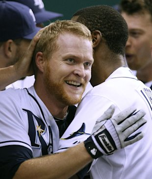 Dan Johnson after his late season heroics in 2011 (AP)