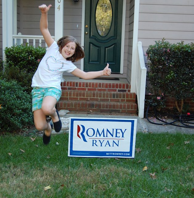 Jessica Turner of Raleigh, N.C., poses with the Romney sign outside her home. (Jim Turner)