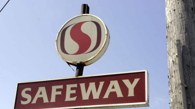 FILE - This April 21, 2008, file photo, shows a Safeway sign outside a store in San Francisco. Safeway Inc. reported Thursday, April 26, 2012, a sharp jump in net income for the first quarter, helped in part by strong cost controls. But shares fell almost 2 percent, or 43 cents, to $21.17 per share in morning trading Thursday. (AP Photo/Paul Sakuma, File)