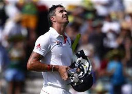 England's Pietersen reacts as he walks off the field after he caught out by Australia's Harris during the fourth day of the third Ashes test cricket match at the WACA ground in Perth