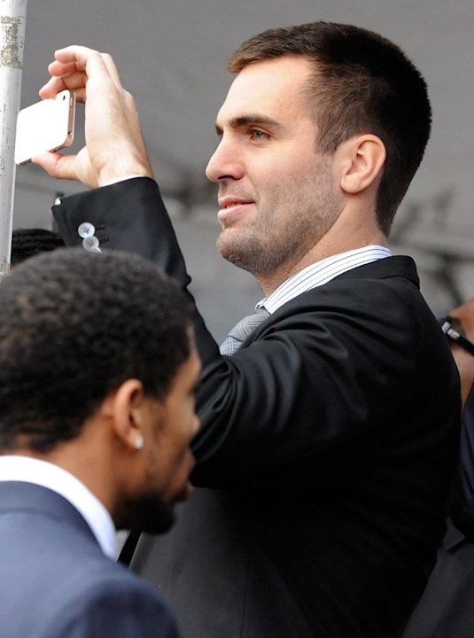 Baltimore Ravens quarterback Joe Flacco records a send-off rally for the team on Monday, Jan. 28, 2013 in Baltimore. The NFL football team is leaving for New Orleans to face the San Francisco 49ers in